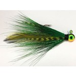 Big Jim's Bucktail Jig. 1/8oz Green w/Green Barred Feather Firetiger Head