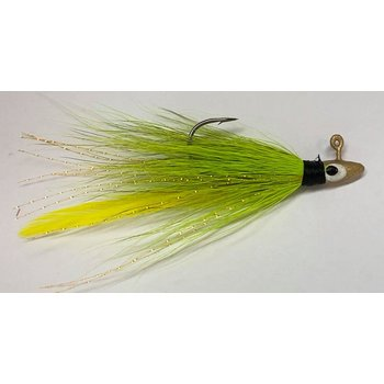 Big Jims Bucktail Jig. 1/16oz Chartreuse Yellow Feather w/Gold Head