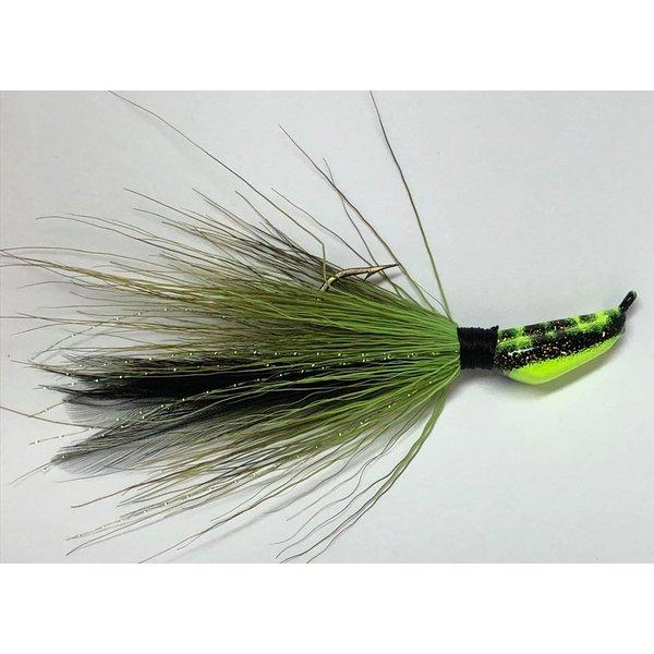 Big Jim's Bucktail Jig. 3/8oz Olive Blk Feather Chartreuse Blk Tiger Head