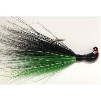 Big Jim's Bucktail Jig. 1/2oz Green Belly Black Back w/Black Flake Head