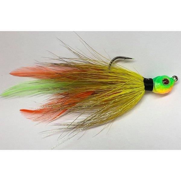 Big Jim's Bucktail Jig. 3/8oz Yellow w/Orange Green Feather Lime Head