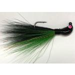 Big Jim's Bucktail Jig. 3/8oz Green Belly Black Back Black Head