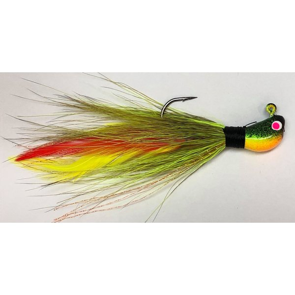 Big Jim's Bucktail Jig. 3/8oz Olive Chart w/Red Ylw Feather FT Head