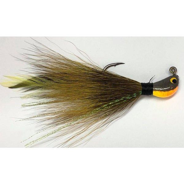 Big Jim's Bucktail Jig. 3/8oz Dark Olive w/Chart Feather Olive Top Head