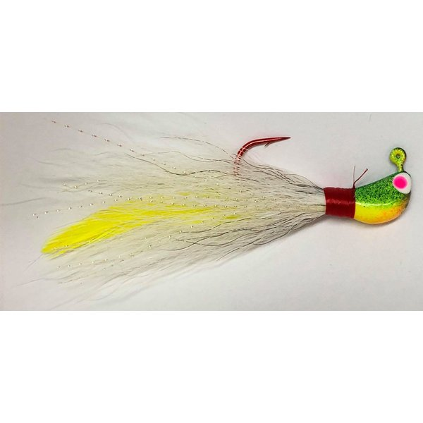 Big Jim's Bucktail Jig. 3/8oz White w/Yellow Feather Firetiger Head