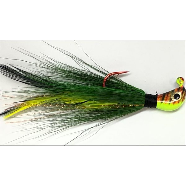 Big Jim's Bucktail Jig. 3/8oz Green w/Blk Ylw Feather Orange Tiger Head
