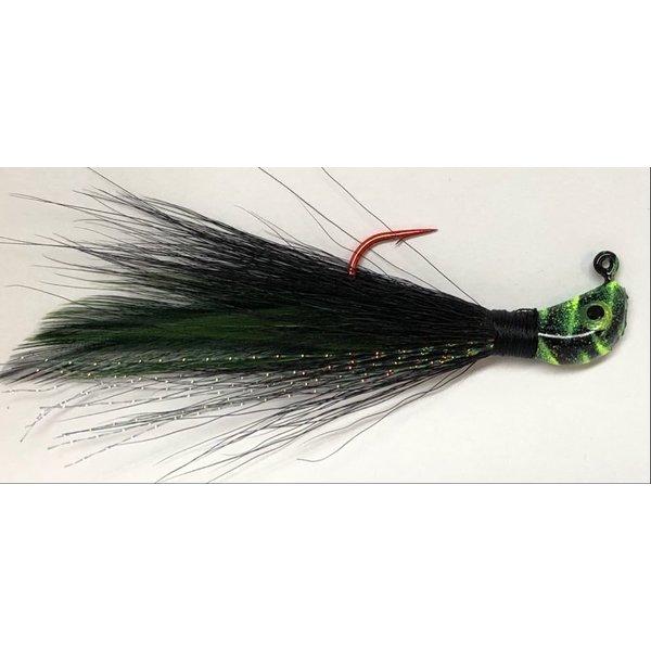 Big Jim's Bucktail Jig. 3/8oz Black w/Green Feather Chart Blk Tiger Head
