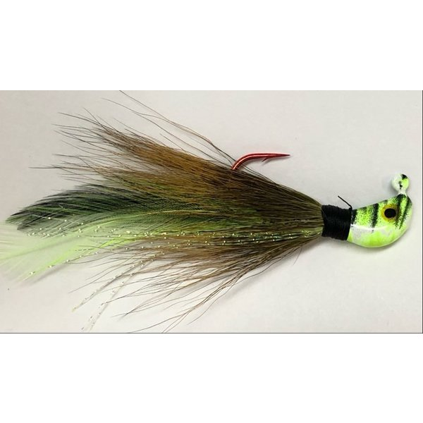 Big Jim's Bucktail Jig. 3/8oz Olive w/Cht Blk Feather Chart Blk Tiger Head