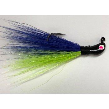 Big Jim's Bucktail Jig. 1/4oz Chartreuse Belly Purple Back Blk Head