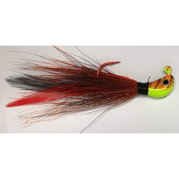 Big Jim's Bucktail Jig. 3/8oz Red Blk w/Red Blk Feather Org Tiger Head