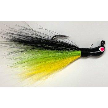 Big Jim's Bucktail Jig. 1/4oz Yellow Belly Cht Mid Blk Back Blk Head