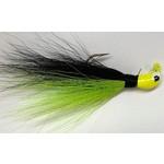Big Jim's Bucktail Jig. 1/4oz Chart Belly Black Back Yellow Head