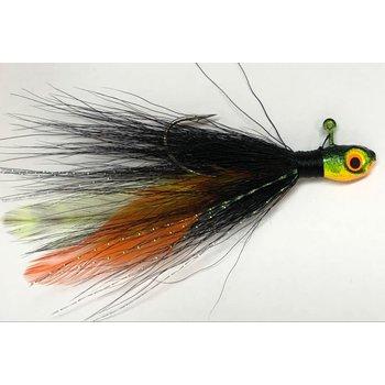Big Jims Bucktail Jig. 1/8oz Blk Orange/Chart Feather Firetiger Head