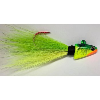 Big Jim's Bucktail Jig. 1/2oz Chartreuse Green FireTiger Head