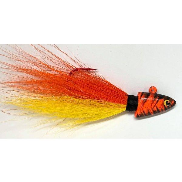Big Jim's Bucktail Jig. 1/2oz Yellow Belly Orange w/Orange Tiger Head
