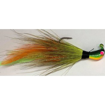 Big Jims Bucktail Jig. 1/4oz Olive Cht w/Org Cht Feather FireTiger Head