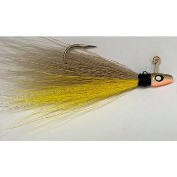 Big Jims Bucktail Jig. 1/8oz Yellow Belly Tan Top w/Gold Head