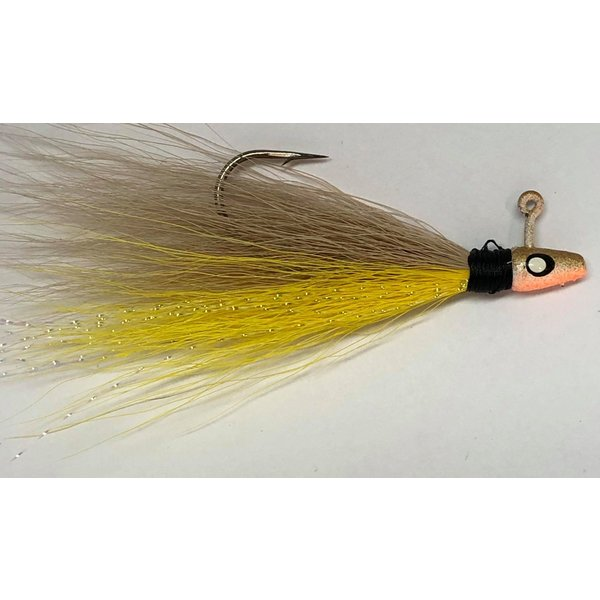 Big Jim's Bucktail Jig. 1/8oz Yellow Belly Tan Top w/Gold Head