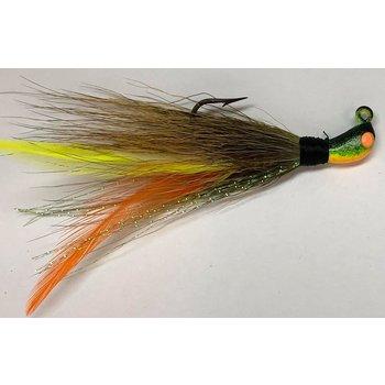 Big Jims Bucktail Jig. 1/8oz Olive w/Yellow Org Feather FireTiger Head