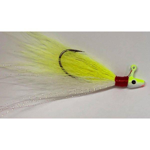 Big Jim's Bucktail Jig. 1/8oz White Belly Yellow w/Yellow Wht Head