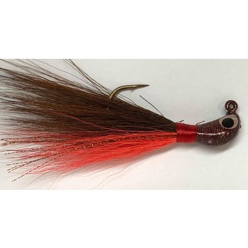 Big Jim's Bucktail Jig. 1/2oz Orange Belly Brown w/Brown Fleck Head