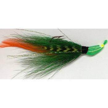 Big Jims Bucktail Jig. 1/8oz Green w/Org & Barred Feather Green Head
