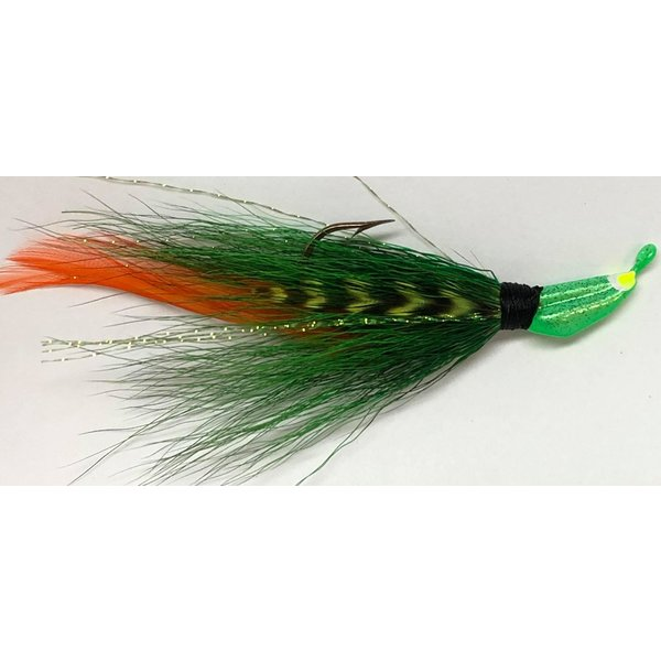 Big Jim's Bucktail Jig. 1/8oz Green w/Org & Barred Feather Green Head