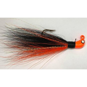 Big Jims Bucktail Jig. 1/8oz Orange Belly Black w/Orange Head