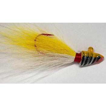 Big Jim's Bucktail Jig. 3/8oz White Belly Yellow Yellow Tiger Head