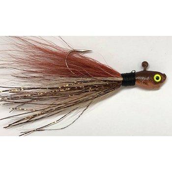 Big Jims Bucktail Jig. 1/8oz Brown Tan Gold Flash w/Brown Head