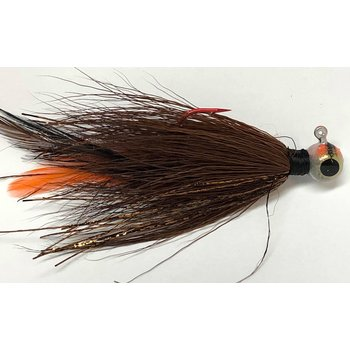 Big Jim's Bucktail Jig. 1/4oz Brown Org Feaher Gld Flash Round Head