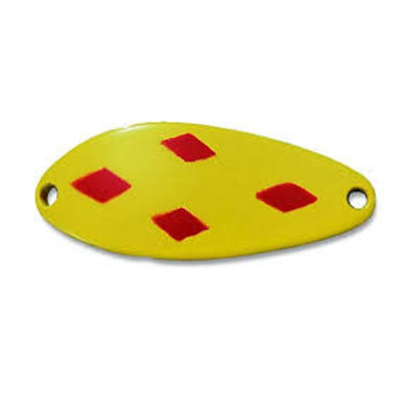 "Acme Little Cleo Spoon, 2 1/2"", 3/4 oz, Yellow & Red Diamonds"