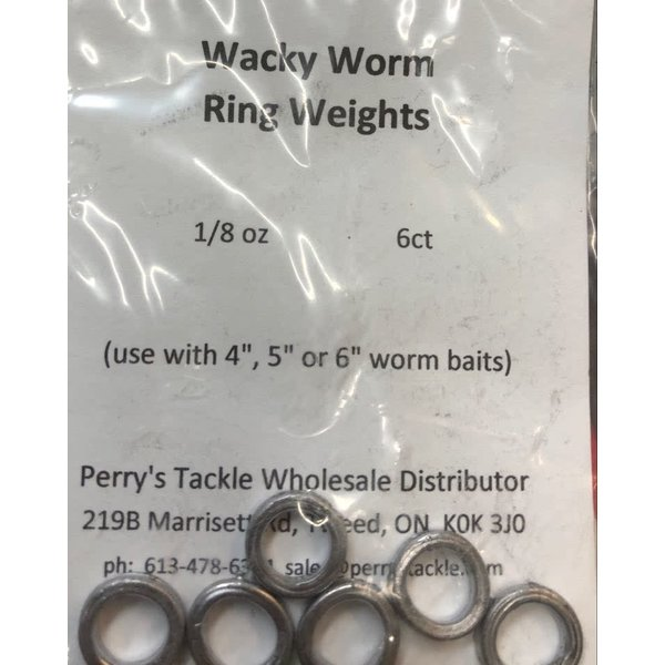 Perry's Tackle Wacky Worm Ring Weights 1/8oz 6-pk