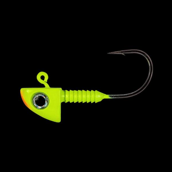 Lunker City 1/4oz HD Pro Grade 2/0 Hook Fin-S Head Chartreuse Orange. 3-pk