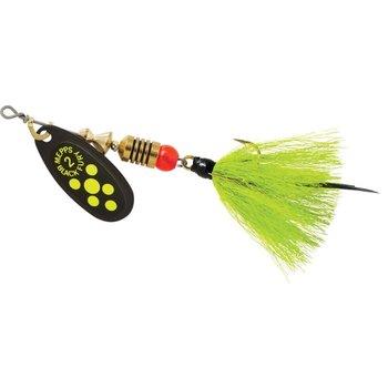 Mepps Black Fury Dressed 1/6 OZ Size 2 Chartreuse Yellow Dots w/Treble