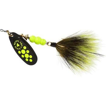 Mepps Black Fury Dressed 1/3 OZ Size 4 Chartreuse Yellow Dots w/Treble
