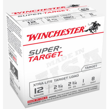 """Winchester Super Target Ammo 12ga 2-3/4"""" 1oz #8 1180fps 25 Rounds"""