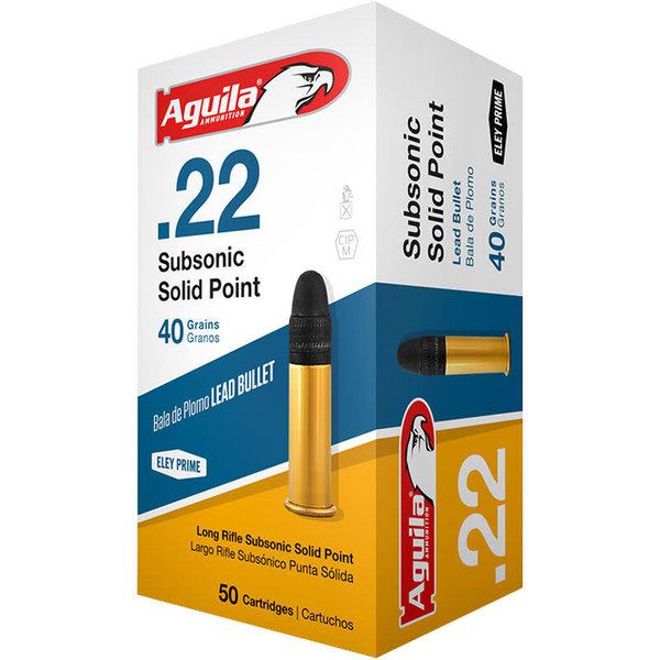 Aguila Subsonic Solid Point Ammo, 22LR 40gr 1025pfs Subsonic Lead 50rds