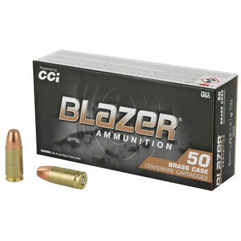 CCI Blazer Brass 9mm Luger Ammunition 50 Rounds 147 Grain Full Metal Jacket Flat Nose 950fps