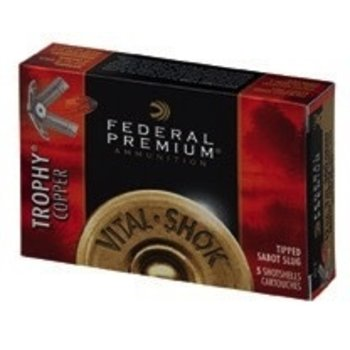 "Federal Premium Vital-Shok Ammo 12ga 3"" 300gr Trophy Copper Tipped Sabot Slug Lead-Free 5 Rounds"
