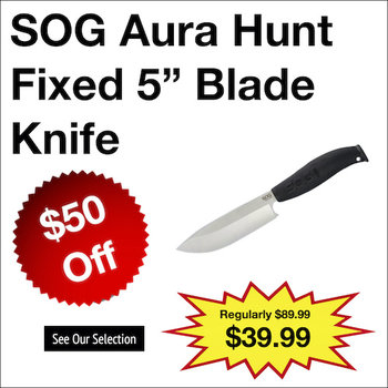 "SOG Aura Hunt Fixed 5"" Blade Knife"