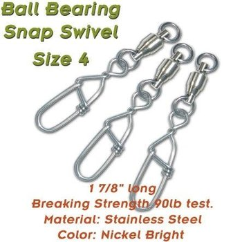 Torpedo Ball Bearing Snap Swivel Size 4. 10-pk