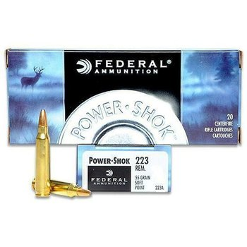 Federal Federal Power-Shok Rifle Ammo 223 Rem 55gr Soft Point 3240fps 20 Rounds