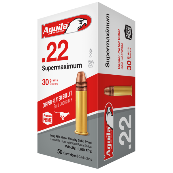 Aguila Super Maximum Rifle Ammunition 1B222298, 22 Long Rifle, Solid Point, 30 GR, 1750 fps, 50 Rd/bx