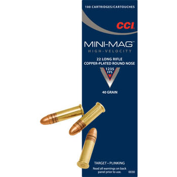 CCI Mini-Mag Target 1235fps Ammo 22 LR 40gr Copper Plated Round Nose 100 Rounds