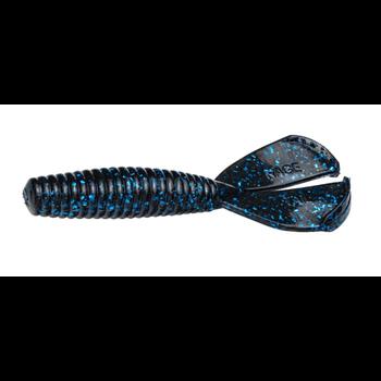 Strike King Rage Tail Baby Menace Grub Black Blue Flake 9-pk