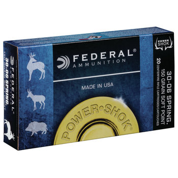 Federal Power-Shok Rifle Ammo 30-06 Springfield 150gr Soft Point  2910fps 20 Rounds