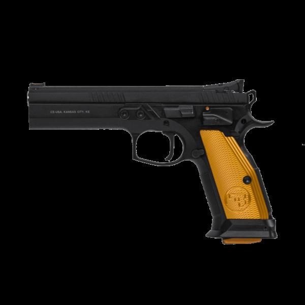 "CZ Model 75 TS Orange Semi-Auto Pistol, 9MM, 5"" Bbl, Black Steel Frame, Orange Aluminum Grip, 10 Rnd, SA, Adj Sights, Manual Safety"