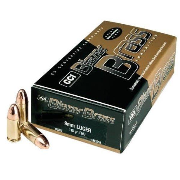 CCI Blazer Brass 9mm Luger 124gr FMJ Ammunition