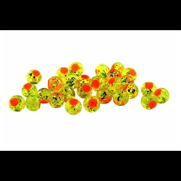 Cleardrift Tackle Glitter Bomb 8mm Chartreuse Orange Dot 30-pk